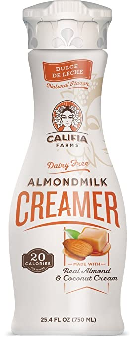 Califia Farms Almondmilk Coffee Creamer with Coconut Cream, Dairy Free, Dulce De Leche,