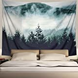 Heopapin Misty Forest with Mountains Tapestry Fog Fantasy Magical Trees Landscape Wall Hanging Mandala Bohemian Wall Tapestry 3D Vision Nature Tree Tapestry Wall Hanging