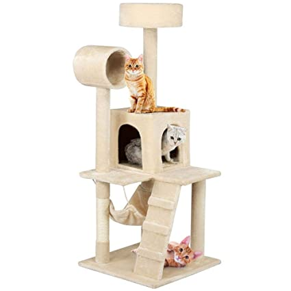 c1722aab3ecb Yaheetech Cat Tree Tower Condo with Sisal Scratching Posts Perches Hammock  Kitty House Furniture,52