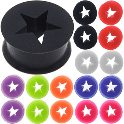 8 Pairs = 16 Pieces of 0g 8mm 0 Gauge Star Flesh Tunnels Screw Silicone Coloured Double Flare Flared Ear Plugs Gauges Stretcher Expander Silicone Body Piercing Jewelry Wholesale lot set Ear Plug Earlets G Gauge Expanders Ears Earring Earrings Free Jewelry Box Pair Black White Blue Red Green Orange Pink Purple (0g = 8mm)