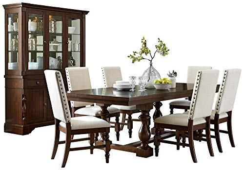 Yancy Rustic Country 8PC Dining Set Table, 6 Fabric Chair, Buffet & Hutch in Burnished Oak