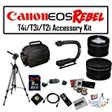 Deluxe Accessory Kit for Canon EOS Rebel T2i T3i T4i with Opteka Microfiber Deluxe Photo / Video Camera Gadget Bag, Opteka X-Grip Professional Camera / Camcorder Action Stabilizing Handle, 8GB SDHC High Speed Memory Card, Full Size Tripod and More!