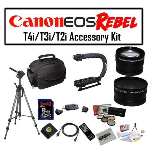 Deluxe Accessory Kit for Canon EOS Rebel T2i T3i T4i with Opteka Microfiber Deluxe Photo / Video Camera Gadget Bag, Opteka X-Grip Professional Camera / Camcorder Action Stabilizing Handle, 8GB SDHC High Speed Memory Card, Full Size Tripod and More! by 47th Street Photo