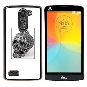 """Be-Star Único Patrón Plástico Duro Fundas Cover Cubre Hard Case Cover Para LG L Prime / L Prime Dual Chip D337 ( Cráneo del punk rock Blanco Negro Cartel"""" )"""