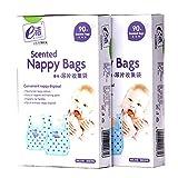 Easy-Tie Diaper Sacks Dispenser Antibacterial Scented Baby Diaper Disposable Bags for Travel Pack (Blue,90-Count 2)