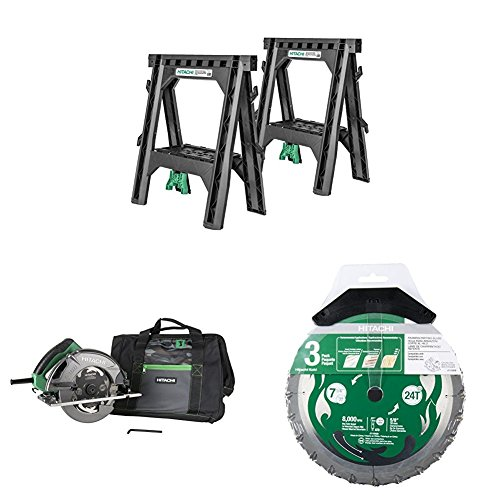 Hitachi 115445 Heavy Duty Sawhorses, C7SB3 15 Amp 7-1/4 inch Circular Saw, and 115430 3-Pack Blades