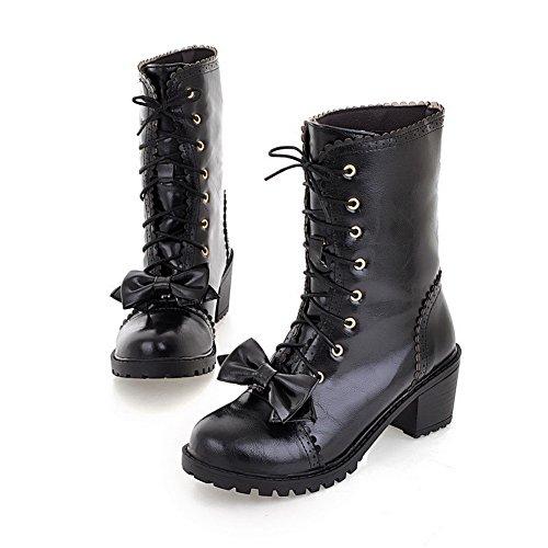 Imitated Boots Bowknot Womens Leather Heels Kitten Up Black Lace AdeeSu Spun Gold 8wvvdq