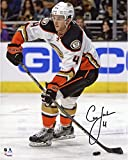 """Cam Fowler Anaheim Ducks Autographed White Jersey With Puck 8"""" x 10"""" Photograph - Fanatics Authentic Certified"""