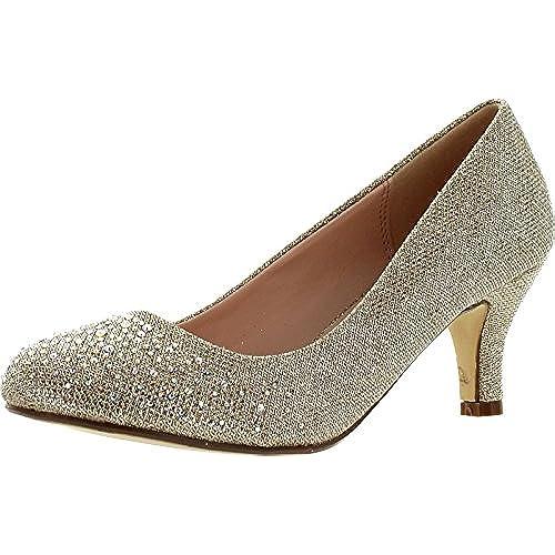 Bonnibel Wonda 1 Womens Round Toe Low Heel Glitter Slip On Dress Pumps Champagne8