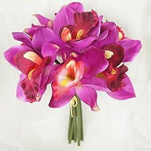 Lily Garden Mini 7 Stems Cymbidium Orchid Bundle Artificial Flowers (Magenta) 2