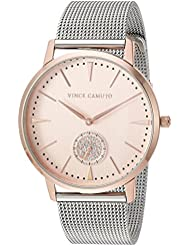 Vince Camuto Womens VC/5315RGTT Swarovski Crystal Accented Rose Gold-Tone and Silver-Tone Mesh Bracelet Watch