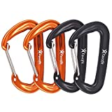 Favofit Ultra Sturdy Carabiner Clips, 4 Pack, 12KN (2697 lbs) Heavy Duty Caribeaners for Camping, Hiking, Outdoor and Gym etc, Small Carabiners for Dog Leash and Harness, Black and Orange