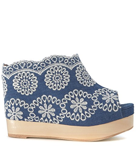 Zueco Jeffrey Campbell Virgo en denim con decoración flores Azul