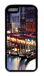 iPhone 5C Case, iPhone 5C Cases -Venice Italy Boat TPU Rubber Soft Case Back Cover for iPhone 5C šCBlack