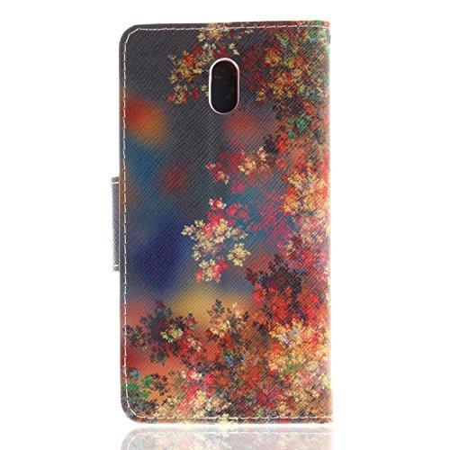 Cuir 3 BONROY pour Support colorée Fleur Nokia Nokia Fleur Portefeuille Rétro Premium Etui Coque Coque Housse colorée Etui 3 Flip PU OORaHq