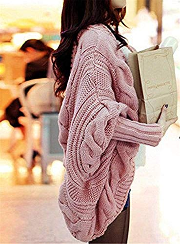 Fashion Puro Autunno Stlie Donna Eleganti Pipistrello Cappotto Unique Caldo A Rosa Outerwear Aperto Giacca Lily Casual Manica Relaxed Maglia Colore Bobo Pullover Forcella Invernali XYZRxUnw