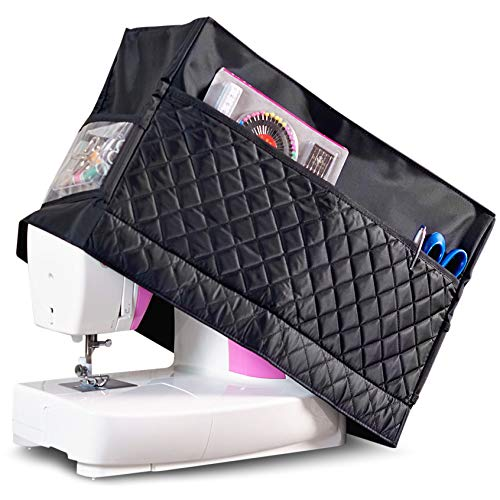 (Sewing Machine Cover with 3 Convenient Pockets - Protective Quilted Dust Cover Pro - Universal for Most Standard Singer & Brother Machines | Rodi's)