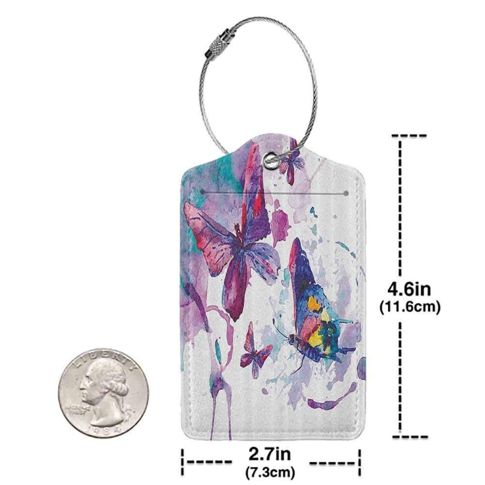 Personalized luggage tag Butterflies Decorations Watercolors Print of Butterfly Sign of the Soul Power Female Art Modern Home Decor Easy to carry Multi W2.7 x L4.6