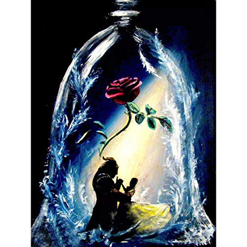 DIY 5D Full Drill Diamond Painting Kits for Adults Kids, Crystal Rhinestone Diamond Embroidery Paintings Arts Craft Home Wall Decor (Beauty and The Beast, 11.8 x 15.8 Inch) (Beauty And The Beast Paint By Number)