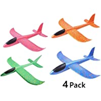 Kissmi 4pcs Airplane Toy ,Flying Glider Airplane,Manual Throwing Model Foam Aircraft ,Outdoor Sports Flying Toy ,Gift for Kids.