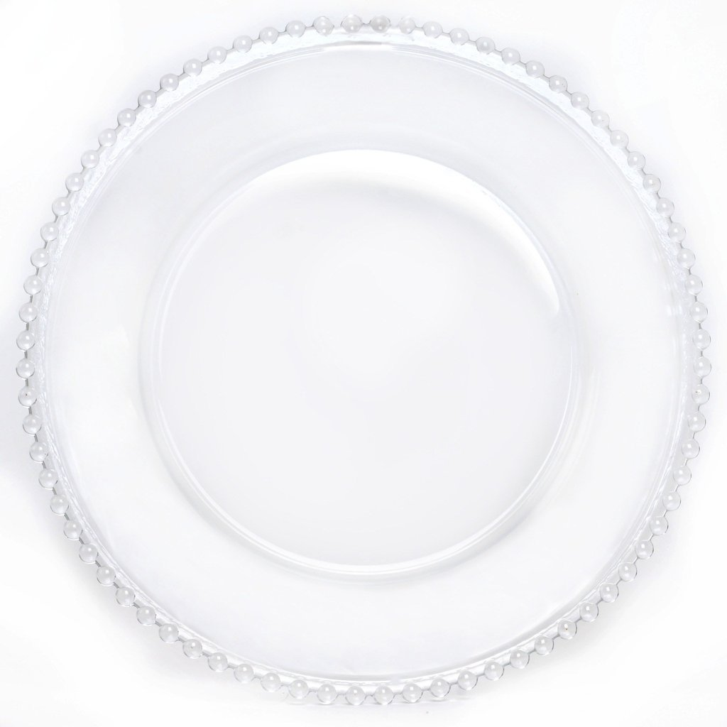 BalsaCircle 8 pcs 12-Inch Clear Glass Charger Plates with Clear Beaded Rim Dinner Chargers Wedding Party Supplies Holidays Occasions