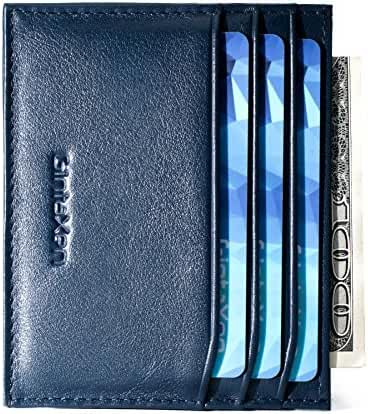 Slim Genuine Leather Credit Card Holder Front Pocket Wallet with RFID Blocking