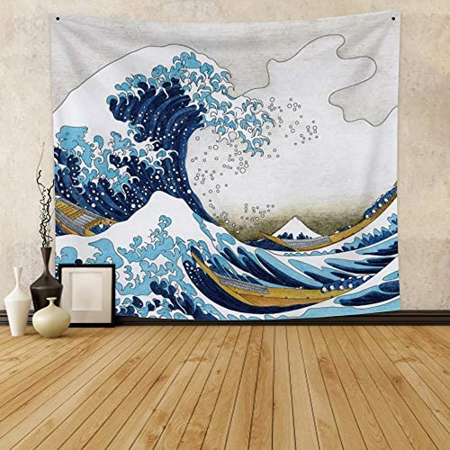 Qinunipoto Japanese Kanagwa Wave Tapestry 59x51inch Great Sea Wave Tapestry Wall Hanging Japanese Ukiyoe Painting Wave Tapestry Nature Seascape Tapestry for Bedroom Living Room Dorm Home Decor