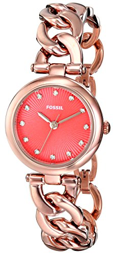Fossil Women's ES3581 Olive Three Hand Stainless Steel Watch - Rose Gold-Tone with with Coral Red Dial