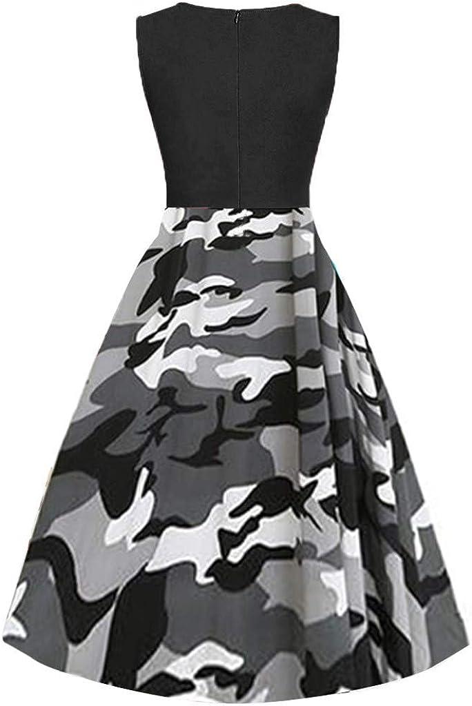 Womens Dresses Summer Gibobby Womens Sleeveless Camo Loose Tank Dress Casual Camouflage Print Swing Dress