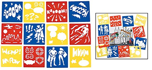 Fun Express Superhero Stencils (12 Pack) Plastic. 5