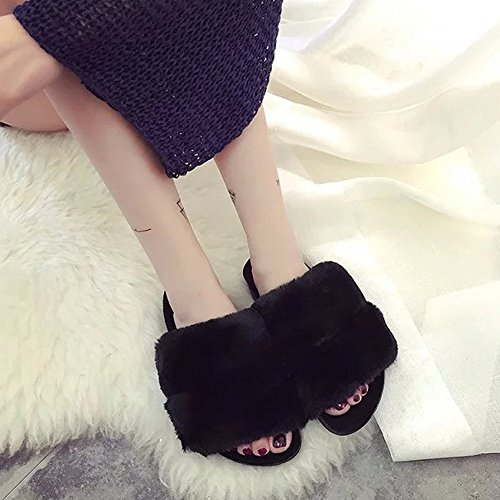 amp; On Fur Slippers Black Slides Sandals Women's Outdoor Slippers Mavirs Soft Flat Indoor Fashion Slip d86vdwxqX