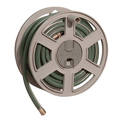 Suncast Hose Reel Cart - Suncast Sidetracker Garden Hose Reel - Fully Assembled Outdoor Wall Mount Tracker with Removable Reel - 100' Hose Capacity - Taupe