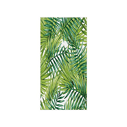 3D Decorative Film Privacy Window Film No Glue,Plant,Watercolor Tropical Palm Leaves Colorful Illustration Natural Feelings Decorative,Fern Green Lime Green,for ()