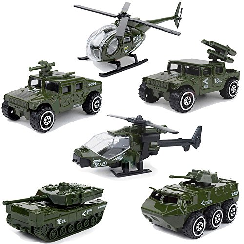 MinYn 6 Pieces Alloy Military Vehicle Mini Diecast Army Car Toys Set Helicopter Tank Jeep Armored Car for Kids Boys
