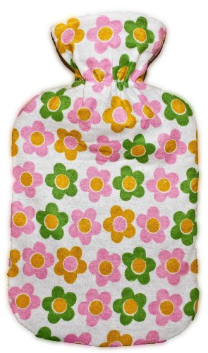 Flannel Daisies - Warm Tradition Daisies Cotton Flannel Hot Water Bottle Cover - COVER ONLY- Made in USA