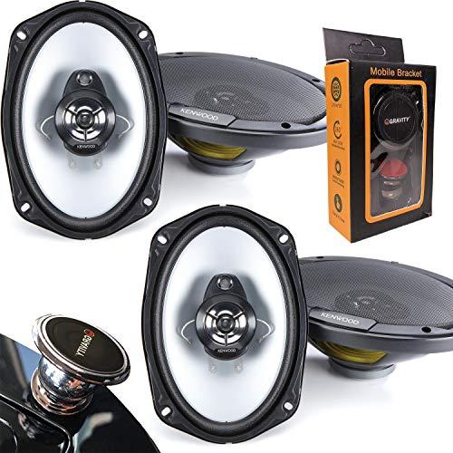 2 Pairs of Kenwood KFC-6966S 6″x9″ 3-Way 400W car Speakers (4 Speakers) with Gravity Magnet Phone Holder Bundle