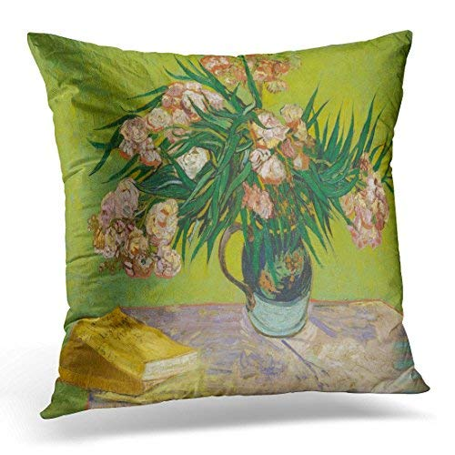 Dutch Jug (Jeartyca Throw Pillow Cover Oleanders by Vincent Van Gogh 1888 Dutch Post Impressionist Oil on Canvas The Flowers Fill Majolica Jug Decorative Pillow Case Home Decor Square 18x18 inches Pillowcase)