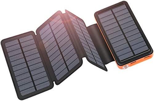 ADDTOP Cargador Solar 25000mAh USB C Power Bank Portátil con 4 Paneles para iPhone, Samsung, Android y Tablet