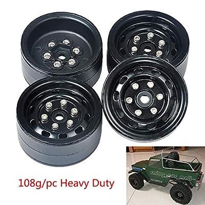 4X 1.9 Heavy Duty Alum Beadlock Wheel Rims for TRX-4 SCX10 RC 4WD D90 Black: Toys & Games