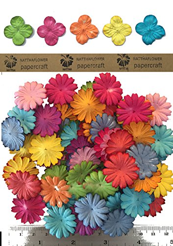 100 Mixed Mulberry Daisy Flowers Scrapbooking Embellishment (mixed color)