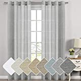 H.VERSAILTEX Extra Long Linen Curtains for Dining Room Window Treatment Nickel Grommet Solid Linen Sheer Curtains Draperies for Living Room/Bedroom (52×108 Inch – Set of 2 – Dove Gray) For Sale