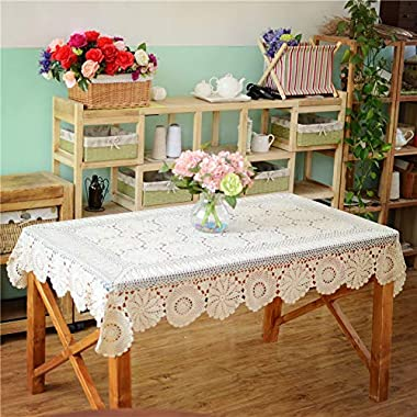 USTIDE Rustic Floral Crochet Tablecloth Rectangle Beige Cotton Lace Table Overlays 51 x70