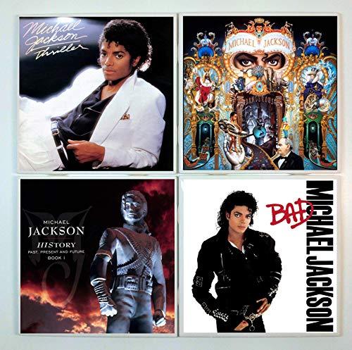 Michael Jackson Coasters - set of 4 tile coasters - band coasters, album covers