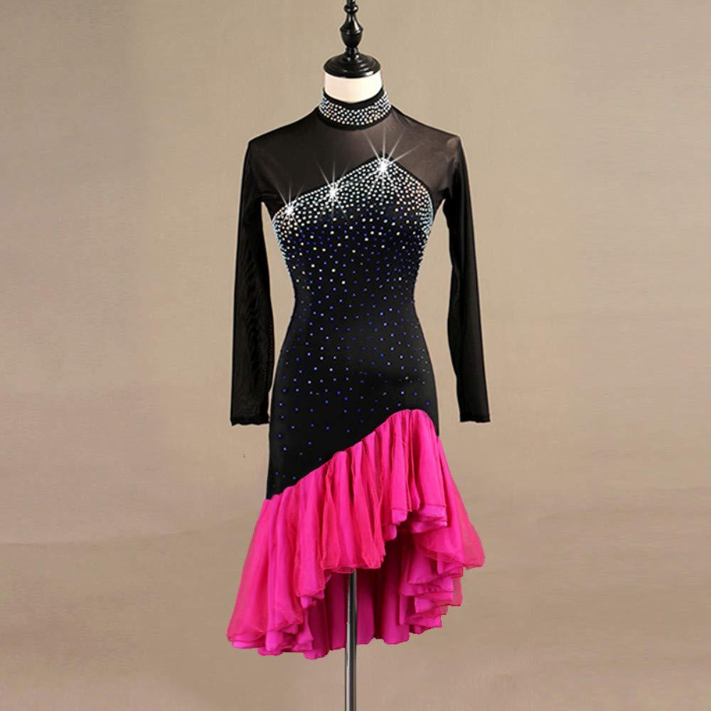大人女性の ラテンダンスドレス女性のパフォーマンススパンデックス結晶ラインストーン長袖ドレス B07P81B23Y Small|Red Small|Red Small Red B07P81B23Y Small, アスポ:d7a41d2a --- a0267596.xsph.ru