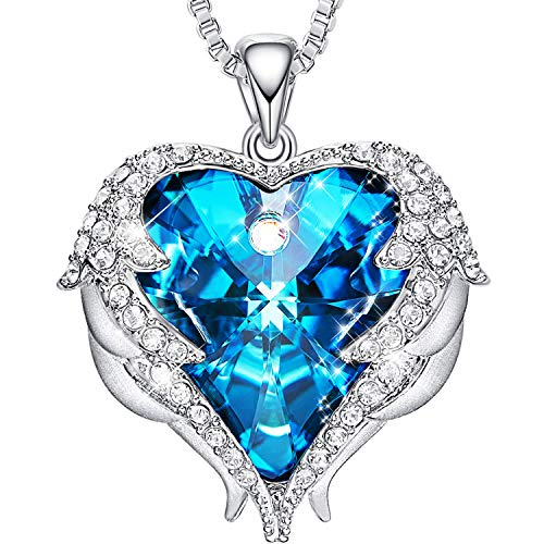 (CDE Necklace for Women Girls Angel Wing White Gold Plated Pendant Heart of Ocean Heart-Shape Jewelry Embellished with Crystals from Swarovski Necklaces for Mom Gift for Mothers Day)