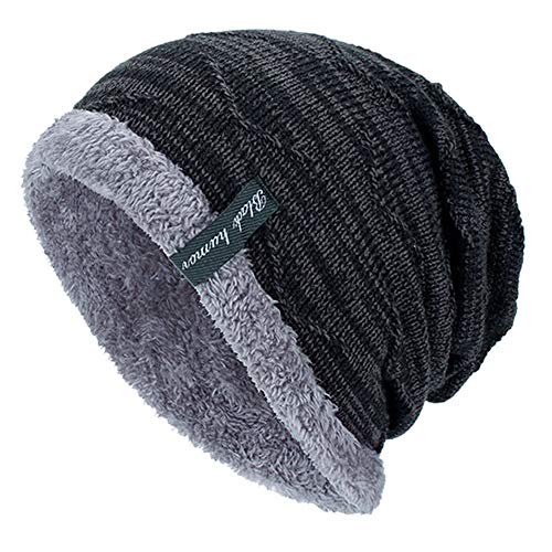 YSense Mens Winter Warm Slouchy Beanie Oversized Baggy Hat Fleece Lined Knit Skull Cap Black
