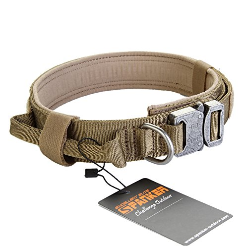 Pettom Tactical Dog Adjustable Collar Military Training Molle Nylon Dog Collar Leash With Handle Steel Buckle 1.5'' (L, Brown)