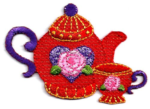 Red Hat Society - Embroidered Tea Pot &, Tea Cup - Iron On Applique Patch by (Applique Hat)
