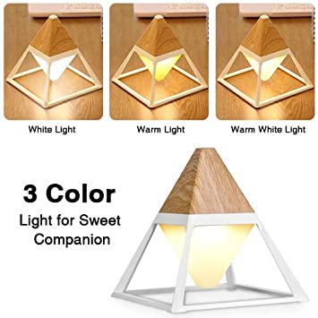 GX/·Diffuser Table Lamp Warm Cool White Light Adjustable Brightness Kids Room/ Eye-Caring Bedside Desk Lamp for Bedroom LED Dimmable Night Light with Touch Control /& USB Charging Port Pyramid