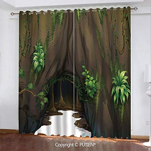 Satin Grommet Window Curtains Drapes [ Nature,Tree Cave Surrounded with Moss Woodland Green Fantasy Secret World Cartoon,Fern Green Chocolate ] Window Curtain for Living Room Bedroom Dorm Room Classro -